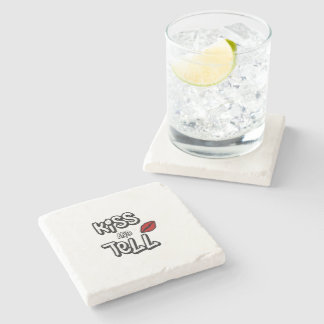 Kiss and tell stone beverage coaster