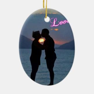 kiss beyond the sunset ceramic oval decoration