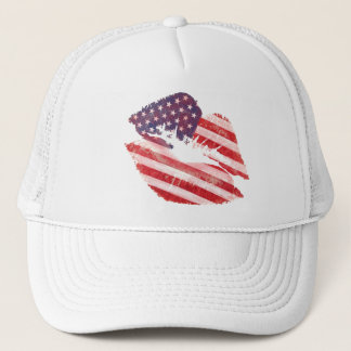 Kiss lips with American flag Trucker Hat