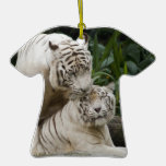 Kiss love peace and joy white tigers lovers christmas tree ornament