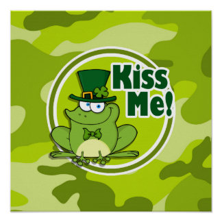 Kiss Me bright green camo camouflage Poster