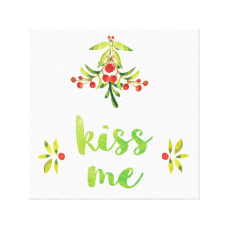 Kiss Me - Christmas Canvas Decor Canvas Print