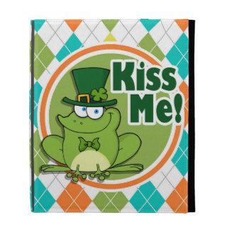 Kiss Me!  Colorful Argyle Pattern iPad Folio Cases