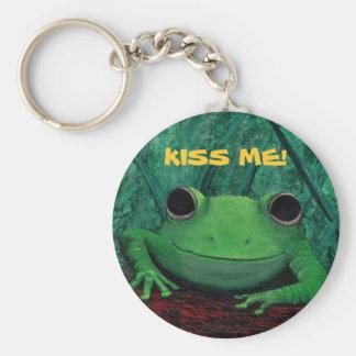 KISS ME! (Frog Design) ~ Basic Round Button Key Ring