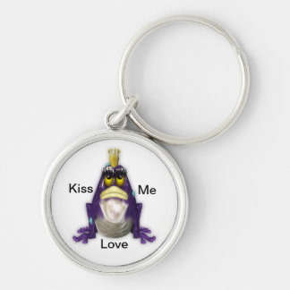Kiss Me Frog Silver-Colored Round Key Ring