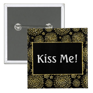 Kiss Me Gold Shimmer Fireworks 15 Cm Square Badge