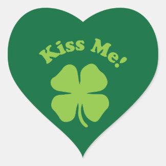 Kiss Me Green Heart Sticker