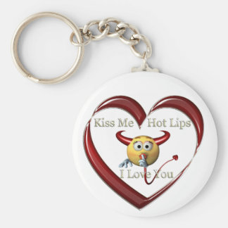 kiss me hot lips heart basic round button key ring
