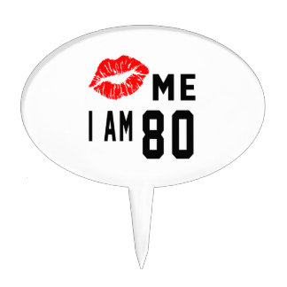 Kiss Me I Am 80 Cake Toppers