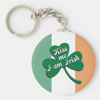 Kiss me I am Irish Basic Round Button Key Ring