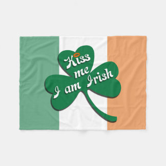 Kiss me I am Irish Fleece Blanket