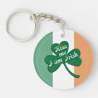 Kiss me I am Irish Single-Sided Round Acrylic Key Ring