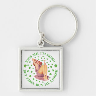 Kiss Me, I m Irish - But First Buy Me a Drink Silver-Colored Square Key Ring