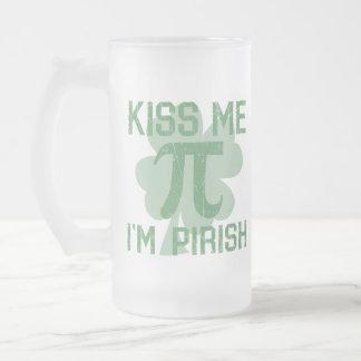 """Kiss Me, I'm Pi-rish"" Frosted Glass Beer Mug"