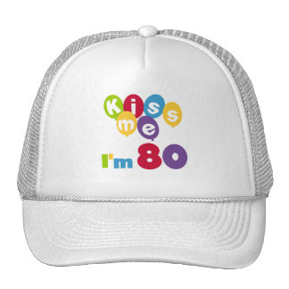 Kiss Me I'm 80 Birthday T-shirts and Gifts Mesh Hats