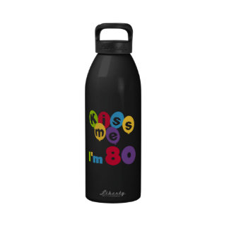 Kiss Me I'm 80 Birthday T-shirts and Gifts Drinking Bottle