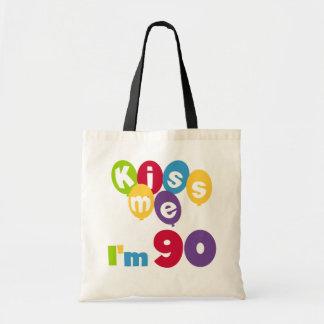 Kiss Me I'm 90 Birthday T-shirts and Gifts Budget Tote Bag
