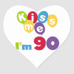Kiss Me I'm 90 Birthday T-shirts and Gifts Heart Stickers