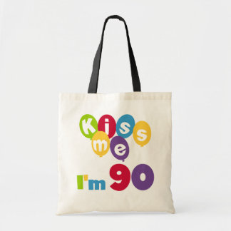 Kiss Me I'm 90 Birthday T-shirts and Gifts Tote Bag
