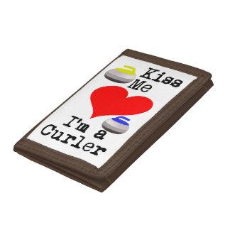 Kiss me I'm a Curler Tri-fold Wallets