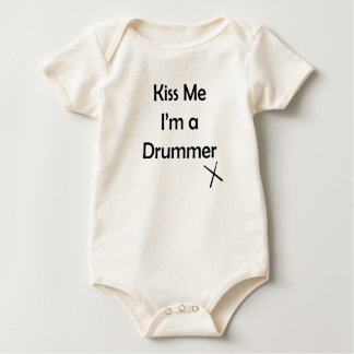 Kiss me I'm a drummer Baby Bodysuit