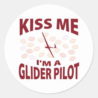 Kiss Me I'm A Glider Pilot Round Sticker