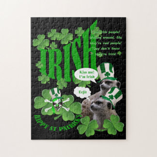 Kiss me I'm a Irish meerkat design Jigsaw Puzzle
