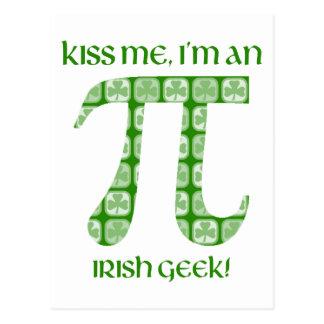 Kiss Me, I'm A Irish Nerd St. Pat's Day Pi Tees Post Card