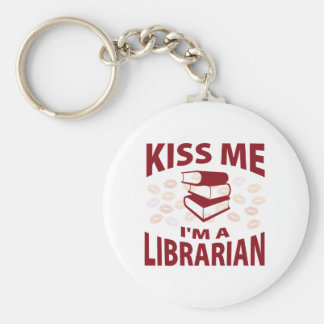 Kiss Me I'm A Librarian Basic Round Button Key Ring
