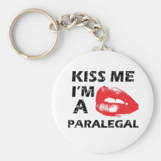 Kiss me i'm a paralegal basic round button key ring