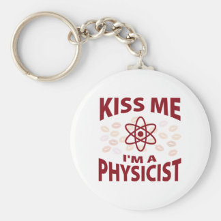 Kiss Me I'm A Physicist Basic Round Button Key Ring