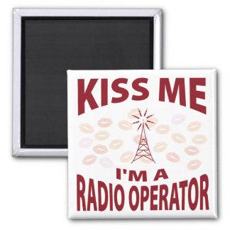 Kiss Me I'm A Radio Operator Square Magnet