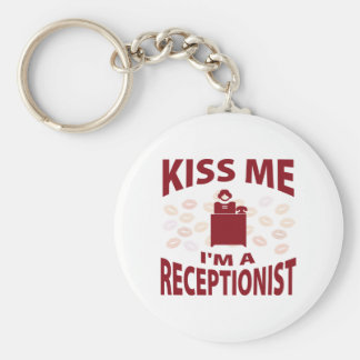 Kiss Me I'm A Receptionist Basic Round Button Key Ring