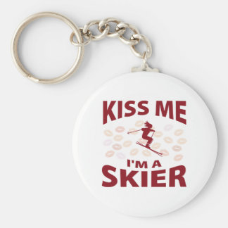Kiss Me I'm A Skier Basic Round Button Key Ring