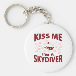 Kiss Me I'm A Skydiver Basic Round Button Key Ring