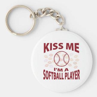 Kiss Me I'm A Softball Player Basic Round Button Key Ring