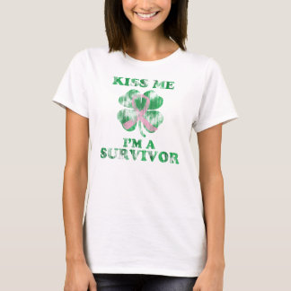 Kiss Me I'm a Survivor Irish Breast Cancer T-Shirt