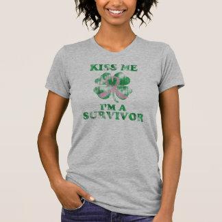 Kiss Me I'm a Survivor Irish Breast Cancer Shirts