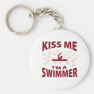 Kiss Me I'm A Swimmer Basic Round Button Key Ring