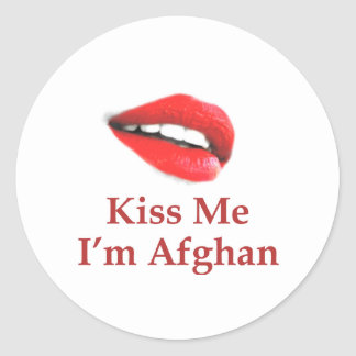 Kiss Me I'm Afghan Round Stickers