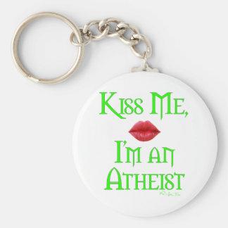 Kiss Me, I'm an Atheist Basic Round Button Key Ring