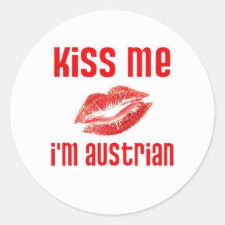 Kiss Me I'm Austrian Round Stickers