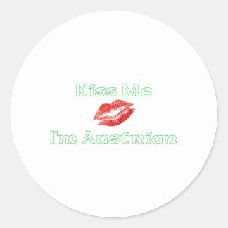 Kiss Me. I'm Austrian Round Stickers