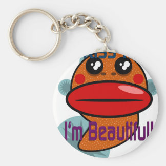 Kiss Me I'm Beautiful Basic Round Button Key Ring