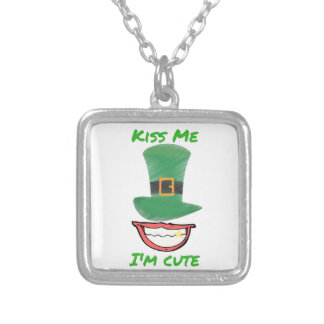 kiss me im cute design silver plated necklace
