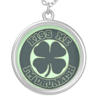 Kiss me Im Drunkish Silver Plated Necklace