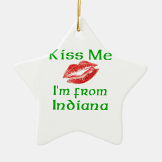 Kiss Me I'm from Indiana Christmas Tree Ornaments