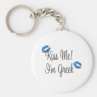 Kiss Me! I'm Greek Basic Round Button Key Ring
