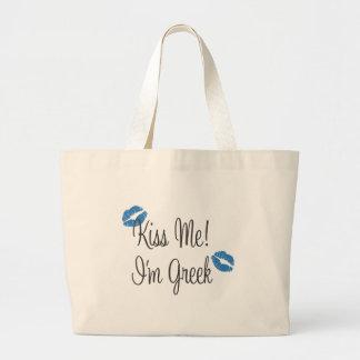 Kiss Me! I'm Greek Large Tote Bag