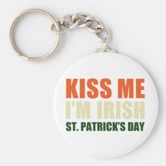 Kiss Me, I'm Irish Basic Round Button Key Ring